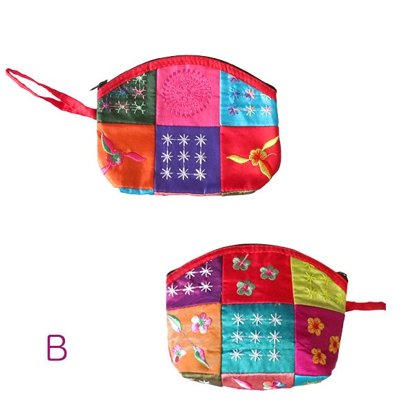 ベトナム パッチワーク刺繍 ポーチ(マチあり)【画像3】