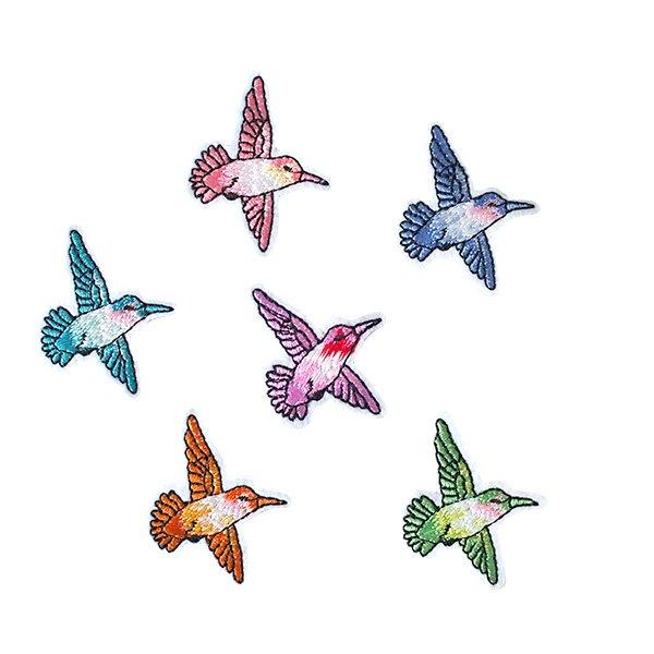 ベトナム  小鳥 刺繍 ワッペン(6色 アイロンOK )