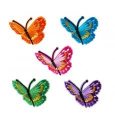 ベトナム  蝶々 刺繍 ワッペン(ちょうちょ 5色 アイロンOK )