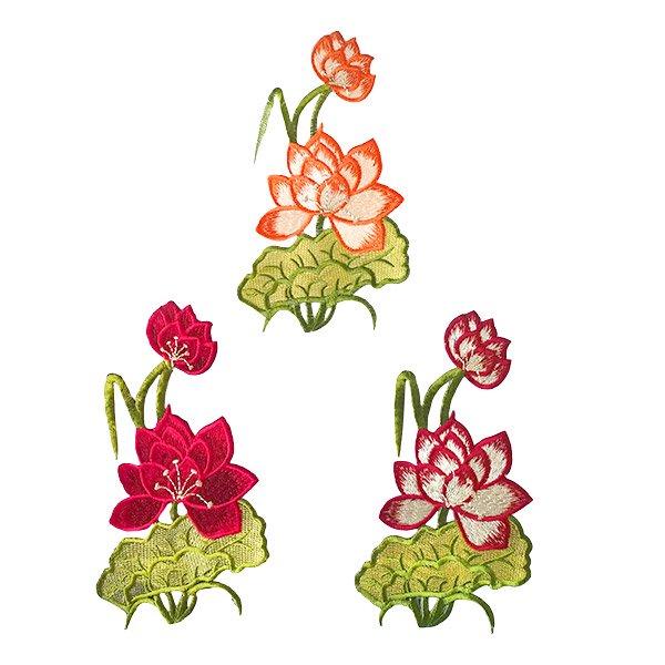 ベトナム 蓮 ハス 刺繍 ワッペン(3色  アイロンOK)