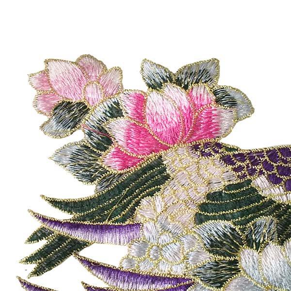 ベトナム 孔雀と蓮 刺繍 ワッペン(縫い付けるタイプ)【画像2】