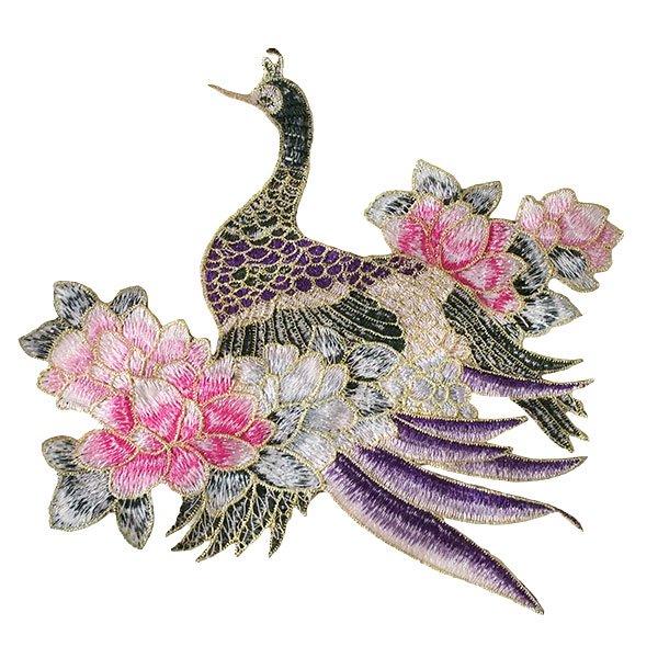 ベトナム 孔雀と蓮 刺繍 ワッペン(縫い付けるタイプ)【画像4】