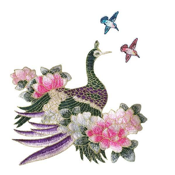 ベトナム 孔雀と蓮 刺繍 ワッペン(縫い付けるタイプ)【画像5】