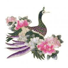 ベトナム 孔雀と蓮 刺繍 ワッペン(縫い付けるタイプ)