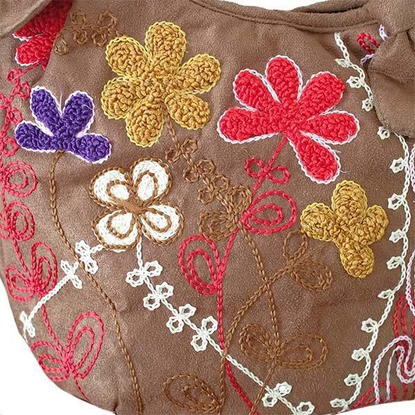 ベトナム スエード 花 刺繍ハンドバッグ (B)【画像2】