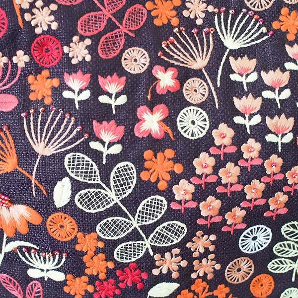 ベトナム 花 刺繍 ハンドバッグ (小花)【画像2】