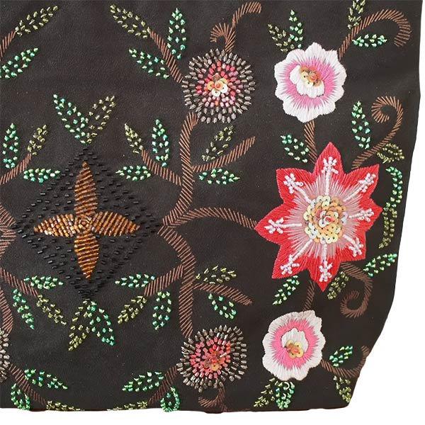 【送料無料】ベトナム スエード 花 ビーズ 刺繍 バッグ【画像2】