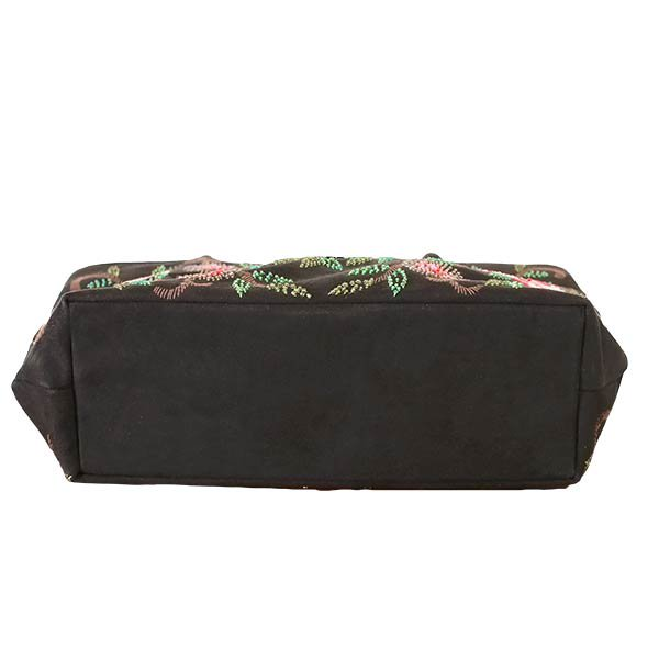 【送料無料】ベトナム スエード 花 ビーズ 刺繍 バッグ【画像6】