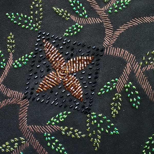 【送料無料】ベトナム スエード 花 ビーズ 刺繍 バッグ【画像8】