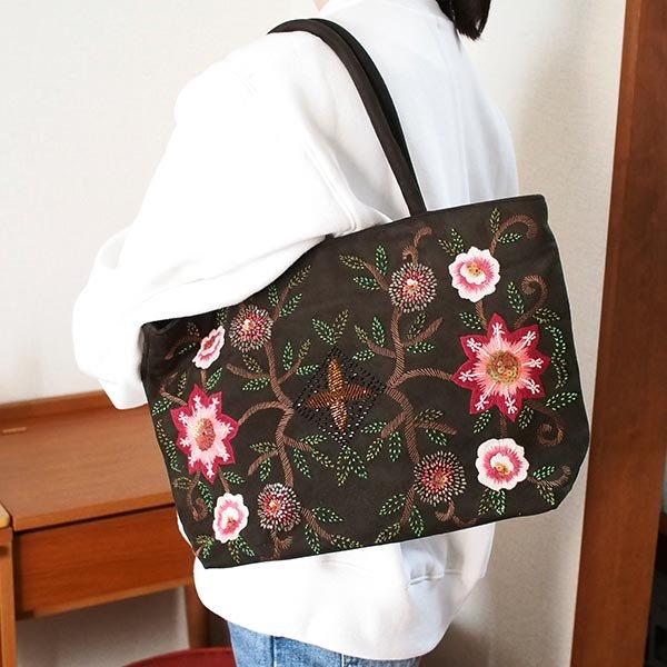 【送料無料】ベトナム スエード 花 ビーズ 刺繍 バッグ【画像9】