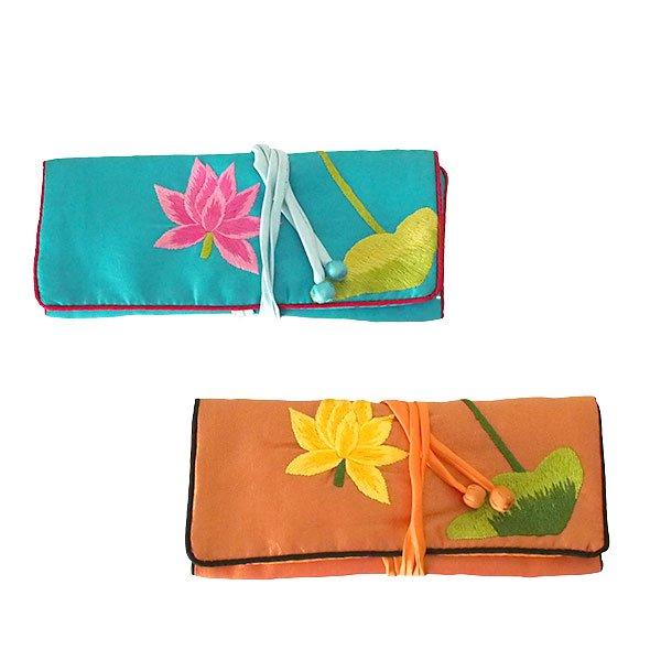 ベトナム 蓮 ロータス 刺繍 アクセサリーポーチ(2色)