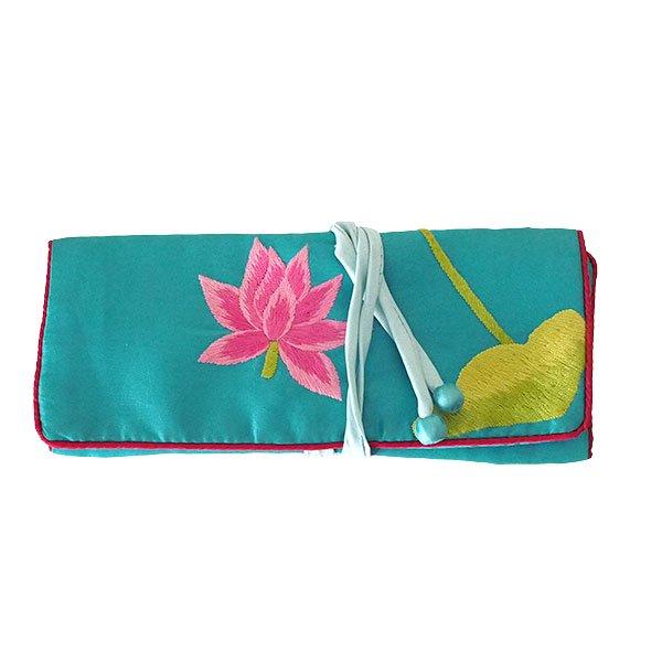 ベトナム 蓮 ロータス 刺繍 アクセサリーポーチ(2色)【画像3】