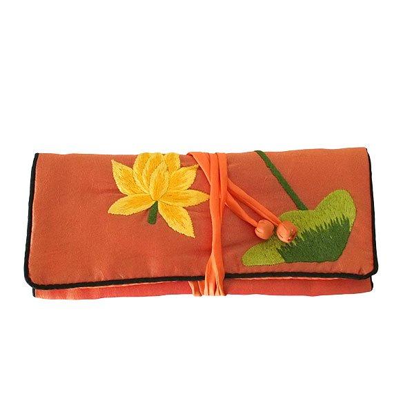 ベトナム 蓮 ロータス 刺繍 アクセサリーポーチ(2色)【画像4】