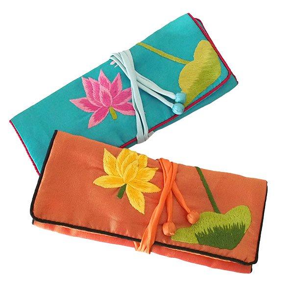 ベトナム 蓮 ロータス 刺繍 アクセサリーポーチ(2色)【画像10】