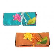 ポーチ ベトナム 蓮 ハス 刺繍 アクセサリーポーチ(2色)