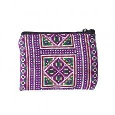 少数民族 モン族 刺繍 ミニポーチ(パープル)