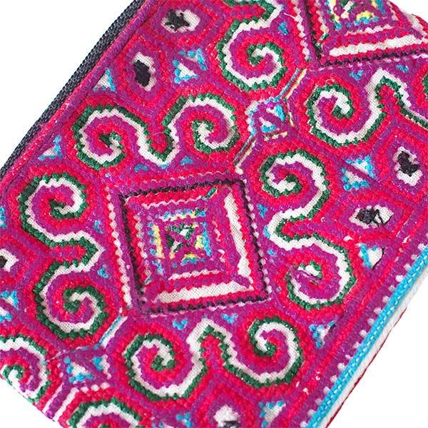 少数民族 モン族 刺繍 ミニポーチ(ピンク)【画像2】