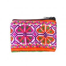 少数民族 モン族 刺繍 ミニポーチ(ピンクグリーン)