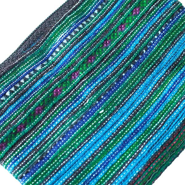 モン族 刺繍 ミニポーチ(グリーン)【画像4】