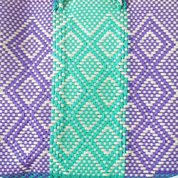 【メキシコ直輸入】メキシコ メルカド バッグ (ブルーグリーン×パープル)縦31 横33 マチ 12【画像2】
