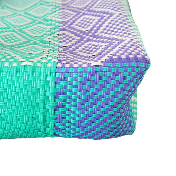 【メキシコ直輸入】メキシコ メルカド バッグ (ブルーグリーン×パープル)縦31 横33 マチ 12【画像4】