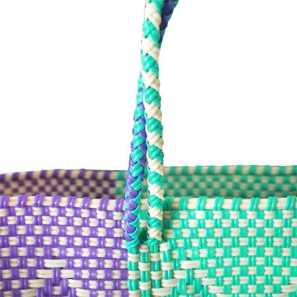 【メキシコ直輸入】メキシコ メルカド バッグ (ブルーグリーン×パープル)縦31 横33 マチ 12【画像5】