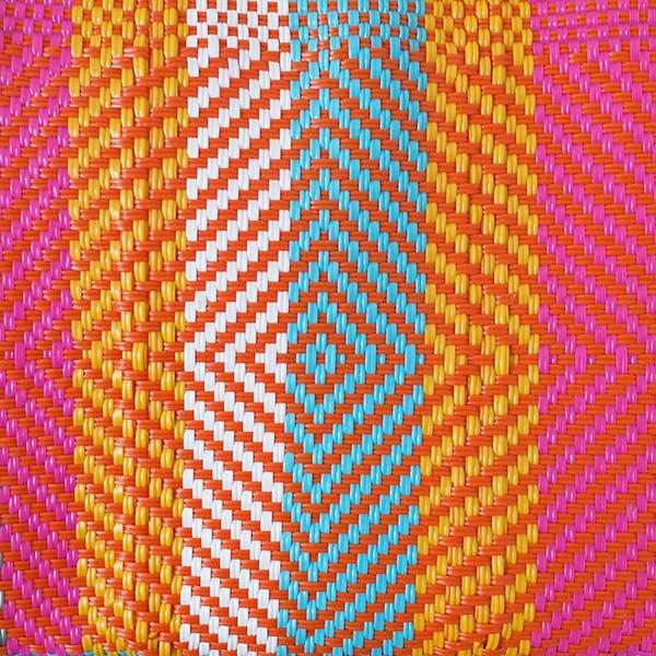 【メキシコ直輸入】メキシコ メルカド バッグ (オレンジ×ピンク)縦31 横33 マチ 12【画像2】