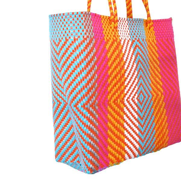 【メキシコ直輸入】メキシコ メルカド バッグ (オレンジ×ピンク)縦31 横33 マチ 12【画像3】