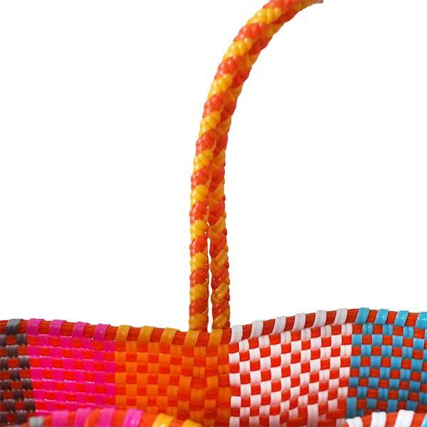 【メキシコ直輸入】メキシコ メルカド バッグ (オレンジ×ピンク)縦31 横33 マチ 12【画像5】
