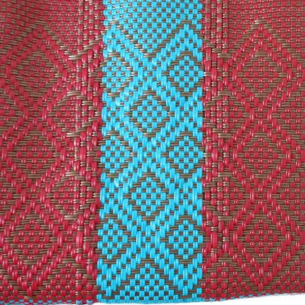 【メキシコ直輸入】メキシコ メルカド バッグ (ブルー×ブラウン)縦31 横33 マチ 12【画像2】