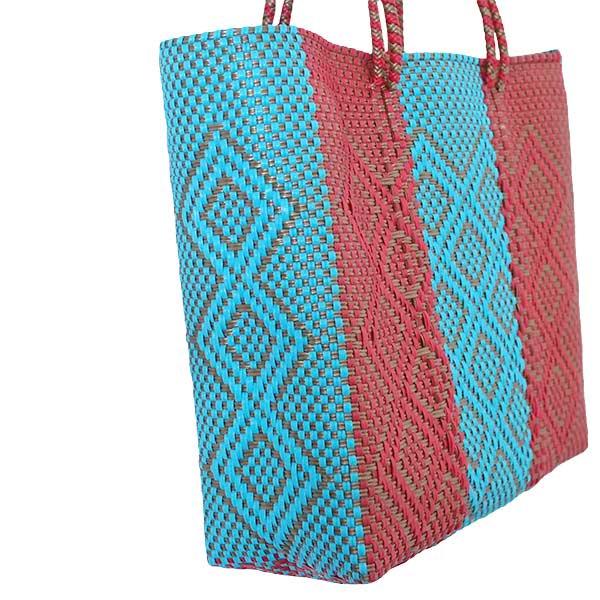 【メキシコ直輸入】メキシコ メルカド バッグ (ブルー×ブラウン)縦31 横33 マチ 12【画像3】