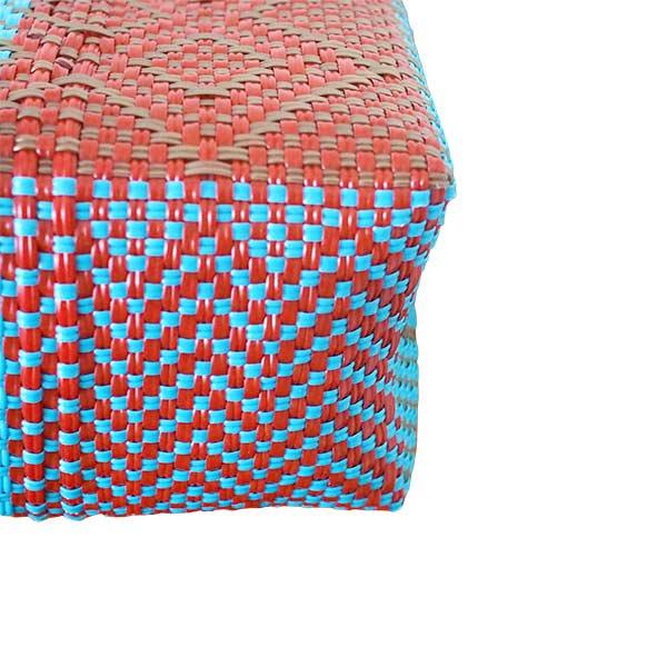 【メキシコ直輸入】メキシコ メルカド バッグ (ブルー×ブラウン)縦31 横33 マチ 12【画像4】