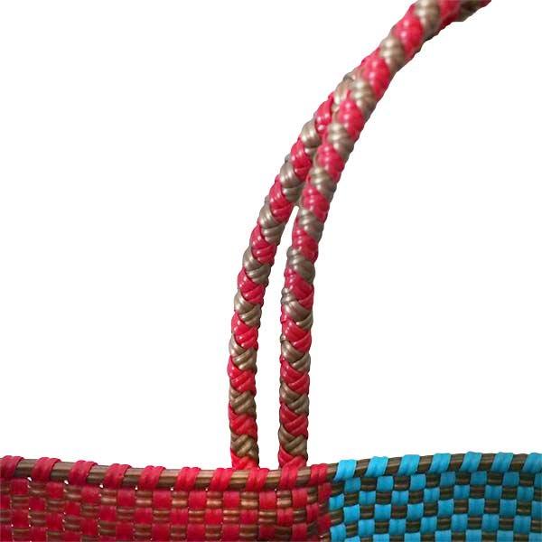 【メキシコ直輸入】メキシコ メルカド バッグ (ブルー×ブラウン)縦31 横33 マチ 12【画像5】