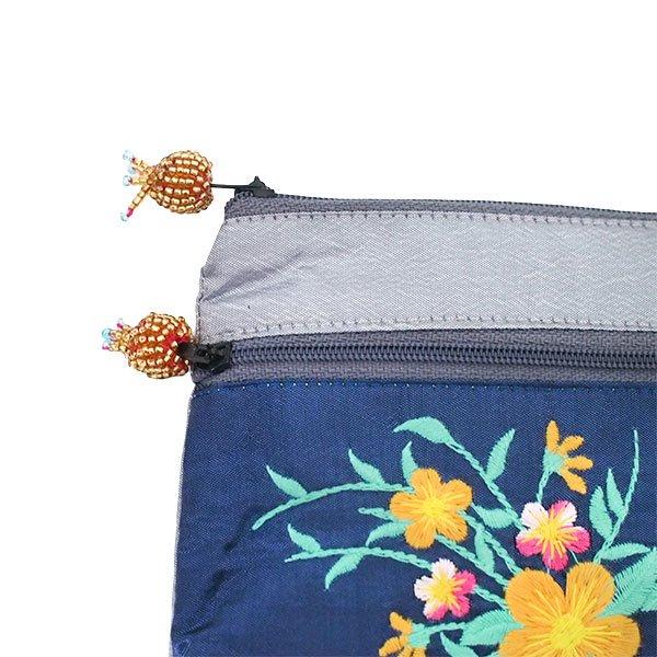 ベトナム 刺繍 シルク ポーチ