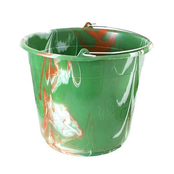 セネガル プラスチックバケツ(グリーン×ライトブラウン 15リットル)