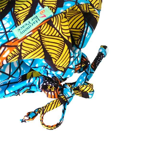 【HARMONY FOR PEACE プロジェクト】マリ 足踏みミシンで仕立てた パーニュ 巾着 エコバッグ(団扇)【画像5】