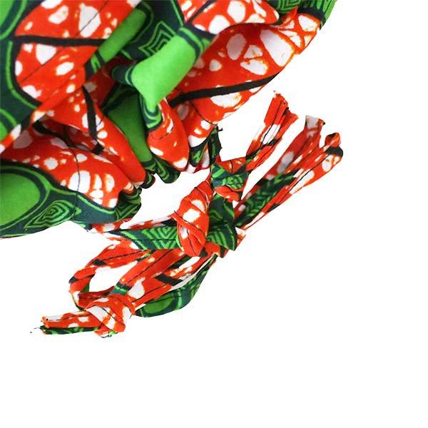 【HARMONY FOR PEACE 】マリ 足踏みミシンで仕立てた パーニュ 巾着 エコバッグ(レッド×グリーン模様)【画像3】