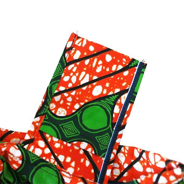 【HARMONY FOR PEACE 】マリ 足踏みミシンで仕立てた パーニュ 巾着 エコバッグ(レッド×グリーン模様)【画像4】