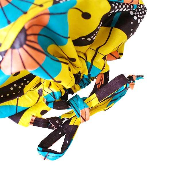 【HARMONY FOR PEACE プロジェクト】マリ 足踏みミシンで仕立てた パーニュ 巾着 エコバッグ(ホタル)【画像3】