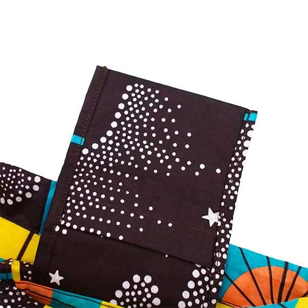 【HARMONY FOR PEACE プロジェクト】マリ 足踏みミシンで仕立てた パーニュ 巾着 エコバッグ(ホタル)【画像4】