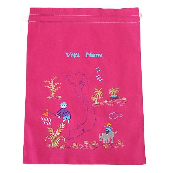 ベトナム 刺繍 巾着(田植えと水牛に乗る子供 ベトナム地図  大サイズ 37×28)【画像3】