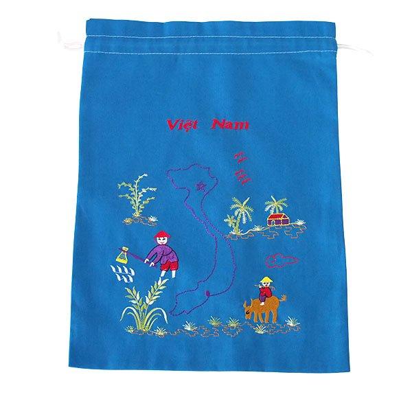 ベトナム 刺繍 巾着(田植えと水牛に乗る子供 ベトナム地図  大サイズ 37×28)【画像4】