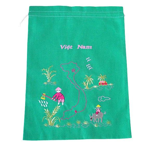 ベトナム 刺繍 巾着(田植えと水牛に乗る子供 ベトナム地図  大サイズ 37×28)【画像5】