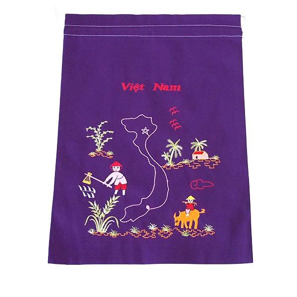 ベトナム 刺繍 巾着(田植えと水牛に乗る子供 ベトナム地図  大サイズ 37×28)【画像6】