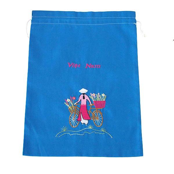 ベトナム 刺繍 巾着(自転車に花を乗せた アオザイ女性 3色 大サイズ 37×28)【画像3】