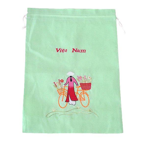 ベトナム 刺繍 巾着(自転車に花を乗せた アオザイ女性 3色 大サイズ 37×28)【画像4】