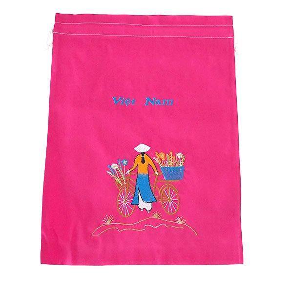 ベトナム 刺繍 巾着(自転車に花を乗せた アオザイ女性 3色 大サイズ 37×28)【画像5】