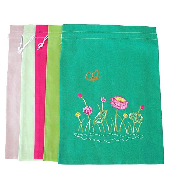 ベトナム 刺繍 巾着(蓮 ロータス B 5色 大サイズ 37×28)