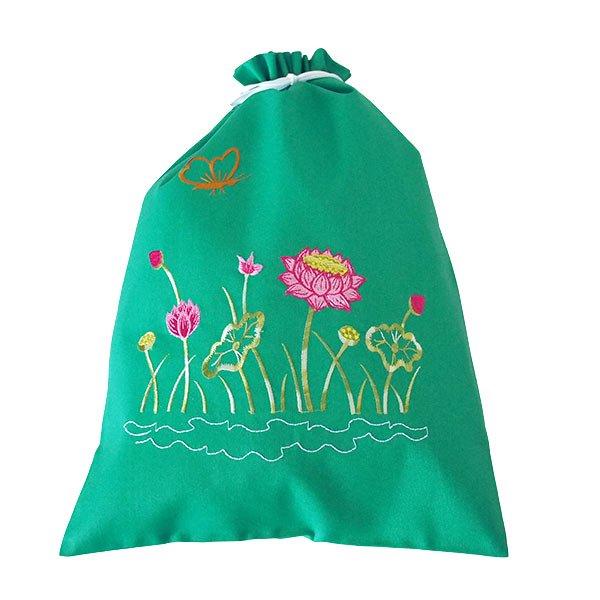 ベトナム 刺繍 巾着(蓮 ロータス B 5色 大サイズ 37×28)【画像8】