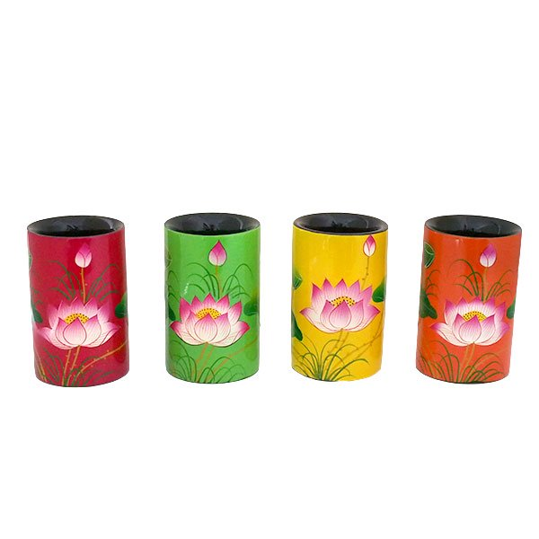 ベトナム 漆 蓮の花 ペン立て A(4色)